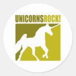 Roca #2 de los unicornios etiquetas redondas