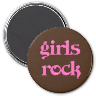 """Roca 3"""" de los chicas imán redondo, rosa y Brown"""