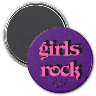 """Roca 3"""" de los chicas imán redondo, rosa y púrpura"""