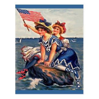 Roca americana de los chicas postales
