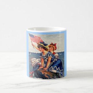 Roca americana de los chicas taza de café