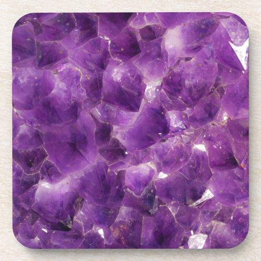 Roca Amethyst púrpura febrero Birthstone de la pie Posavasos De Bebidas