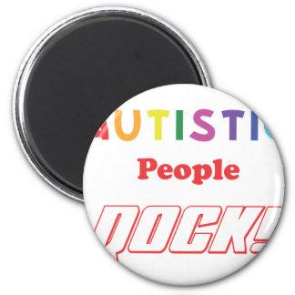 ¡Roca autística de la gente! Imán Redondo 5 Cm