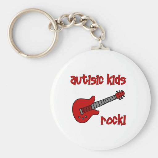 Roca autística de los niños con la guitarra (color llavero redondo tipo pin