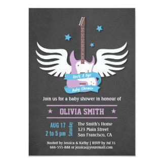 """Roca azul de la guitarra de la lila a la fiesta de invitación 4.5"""" x 6.25"""""""