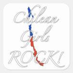 ¡Roca chilena de los chicas! Calcomanía Cuadradas Personalizadas