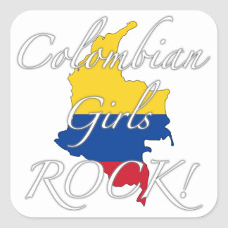 ¡Roca colombiana de los chicas! Pegatina Cuadrada