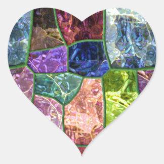 Roca coloreada pegatina en forma de corazón
