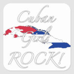 ¡Roca cubana de los chicas! Colcomanias Cuadradas Personalizadas