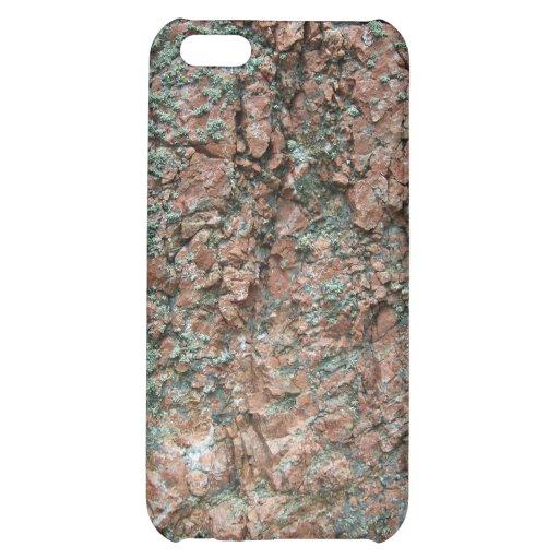 Roca cubierta de musgo verde