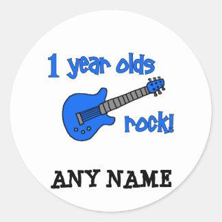 ¡roca de 1 año! El 1r cumpleaños del bebé Etiquetas Redondas