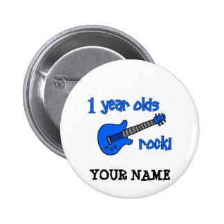 ¡roca de 1 año! El 1r cumpleaños del bebé personal Pin Redondo 5 Cm
