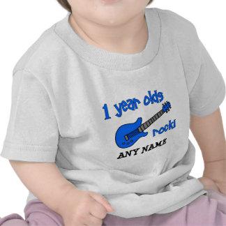 ¡roca de 1 año! El 1r cumpleaños del bebé personal Camisetas