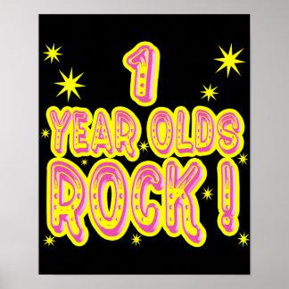 ¡Roca de 1 año! Impresión (rosada) del poster