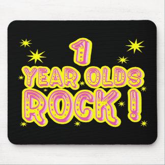 ¡Roca de 1 año Mousepad rosado Tapetes De Ratón