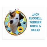 Roca de Jack Russell Terrier y postal de la regla