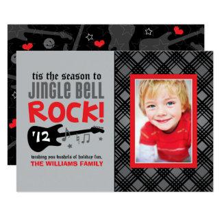 "Roca de Jingle Bell del rojo de la tarjeta el | de Invitación 5"" X 7"""