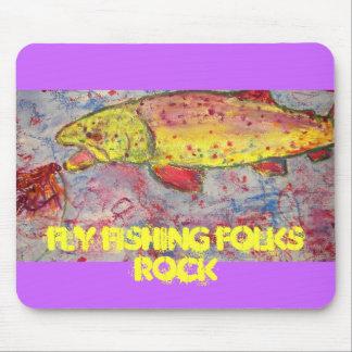 roca de la gente de la pesca con mosca mouse pad
