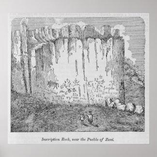 Roca de la inscripción, cerca del pueblo de Zuni Póster