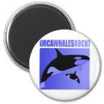¡Roca de las ballenas de la orca! Imanes De Nevera
