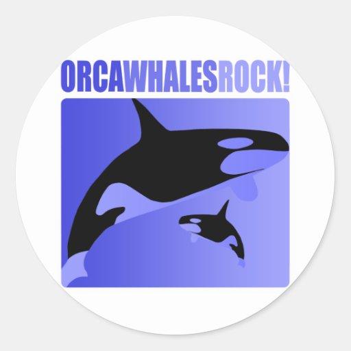 ¡Roca de las ballenas de la orca! Etiquetas Redondas