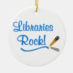 ¡Roca de las bibliotecas! Adornos De Navidad