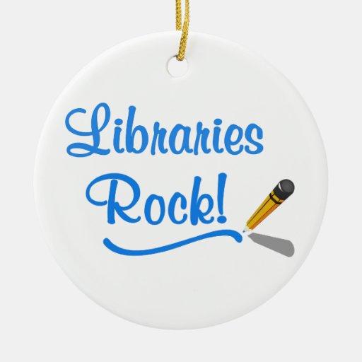 ¡Roca de las bibliotecas! Adorno Redondo De Cerámica