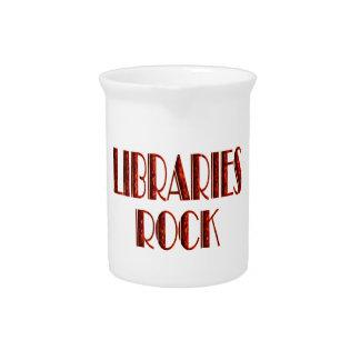 Roca de las bibliotecas jarras de beber