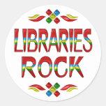 Roca de las bibliotecas pegatina redonda