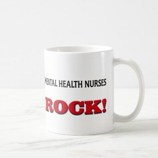 Roca de las enfermeras de salud mental taza básica blanca