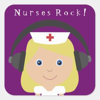 ¡Roca de las enfermeras! Pegatina Cuadrada