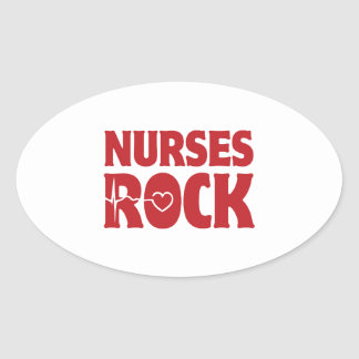 Roca de las enfermeras pegatina ovalada