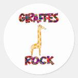 Roca de las jirafas etiquetas redondas