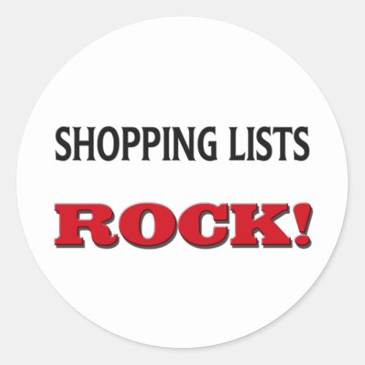 Roca de las listas de compras pegatina redonda