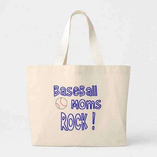 ¡Roca de las mamáes del béisbol! (azul) Bolsa Lienzo