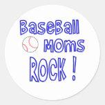¡Roca de las mamáes del béisbol! (azul) Etiqueta Redonda