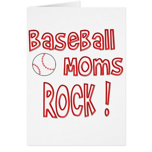 ¡Roca de las mamáes del béisbol! (rojo) Tarjeton