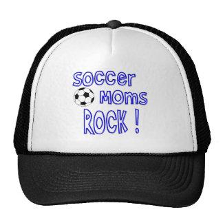 ¡Roca de las mamáes del fútbol! (azul) Gorras De Camionero