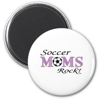 Roca de las mamáes del fútbol imán redondo 5 cm