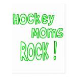¡Roca de las mamáes del hockey! (verde) Postales