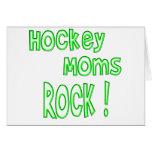 ¡Roca de las mamáes del hockey! (verde) Tarjeton