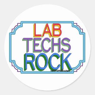 Roca de las tecnologías del laboratorio pegatina redonda