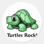 ¡Roca de las tortugas! Pegatina Redonda