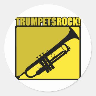 ¡Roca de las trompetas! Pegatina Redonda