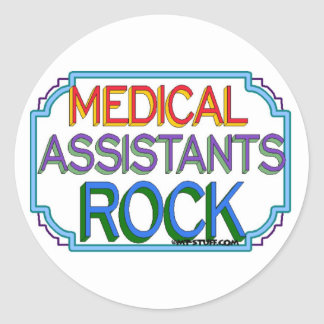 Roca de los auxiliares médicos pegatina redonda