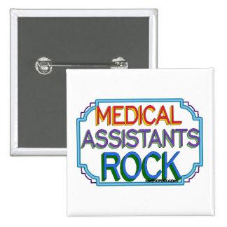 Roca de los auxiliares médicos pin cuadrado