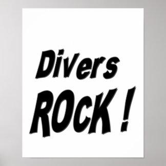 ¡Roca de los buceadores Impresión del poster