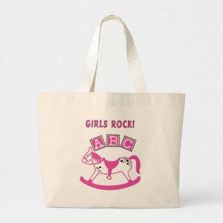 Roca de los chicas bolsa tela grande