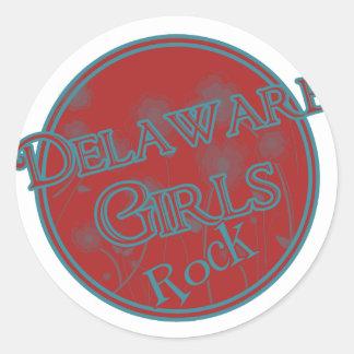 ¡Roca de los chicas de Delaware! Etiqueta Redonda