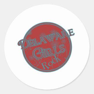 ¡Roca de los chicas de Delaware! Etiquetas Redondas